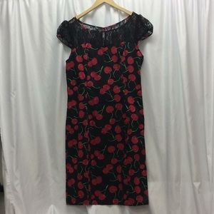 H&R London Black Cherry Pencil Dress with Lace Top